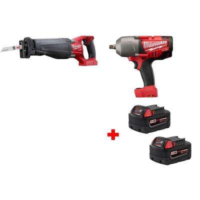 M18 Fuel 1/2 in. Impact Wrench and M18 Fuel Sawzall Reciprocating Saw with Free M18 5.0 XC Battery (2-Pack)