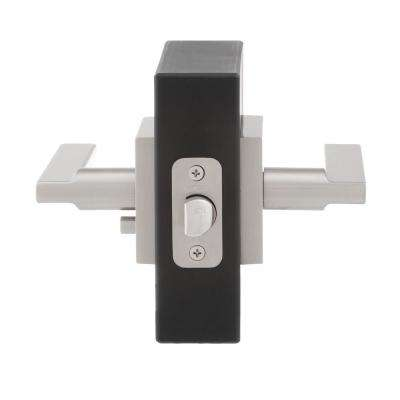 Halifax Square Satin Nickel Privacy Bed/Bath Door Lever (4-Pack)
