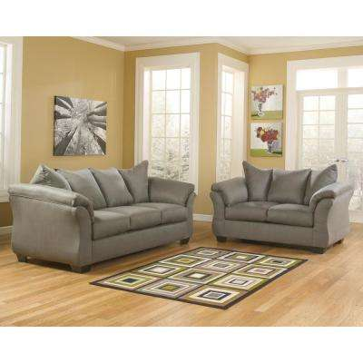 Signature Design by Ashley Darcy Living Room Set in Cobblestone Fabric