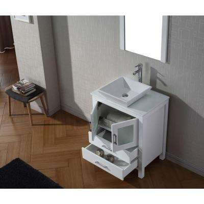 Dior 29 in. W Bath Vanity in White with Stone Vanity Top in White with Square Basin and Mirror and Faucet