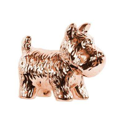 5.5 in. H Dog Decorative Figurine in Gold Polished Chrome Finish