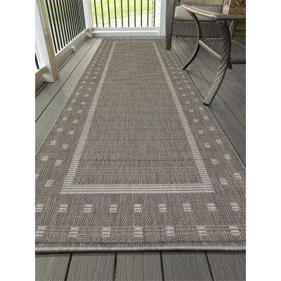 Jardin Collection Contemporary Bordered Design Gray 3 ft. x 7 ft. Outdoor Runner Rug