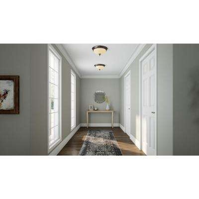 15 in. 2-Light Oil-Rubbed Bronze Flush Mount with Tea Stained Glass Shade