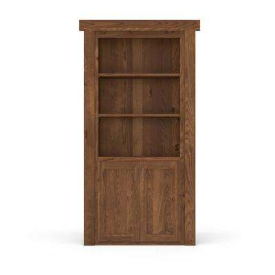 36 in. x 80 in. Flush Mount Assembled Laundry Door Alder Medium Stained Left-Hand Inswing