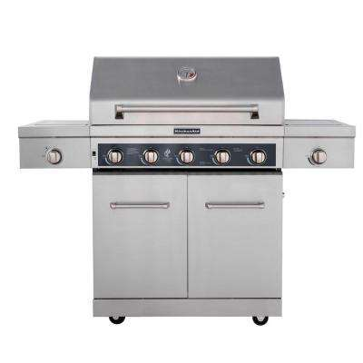 5-Burner Propane Gas Grill in Stainless Steel with Sear and Side Burners plus Cover