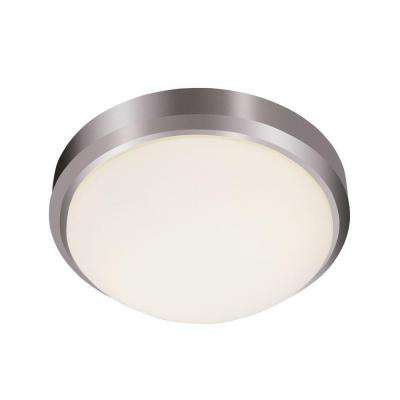 Cabernet Collection 3-Light Brushed Nickel Flushmount with Frosted Shade