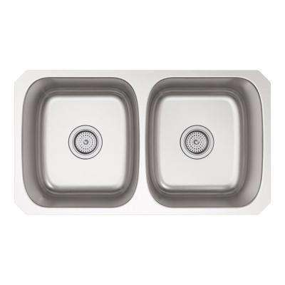 Ballad Undermount Stainless Steel 32 in. Double Bowl Kitchen Sink