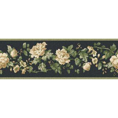 4.12 in. x 15 ft. Black Floral Document Border