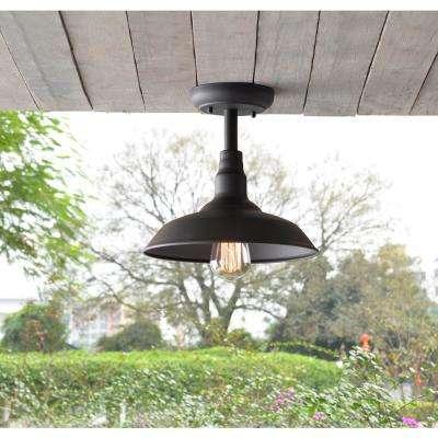 Dale Black 1-Light Outdoor Semi Flush Mount Light
