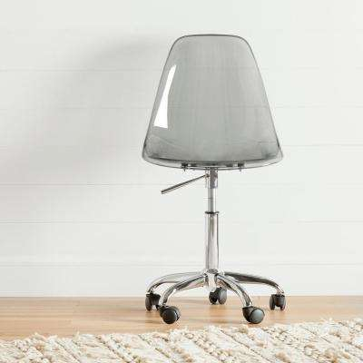 Annexe Clear Smoked Gray Acrylic Office Chair with Wheels
