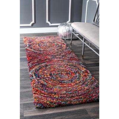 Ardelle Swirl Shaggy Multi 3 ft. x 8 ft. Runner Rug