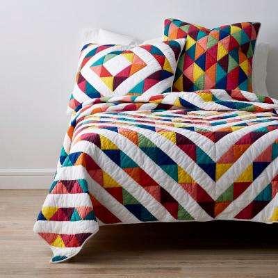 Chevron Patch Geometric Textured Cotton Quilt