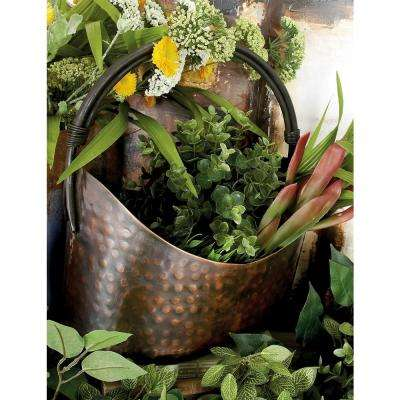 Copper Iron Oval Planters with Handle (Set of 3)