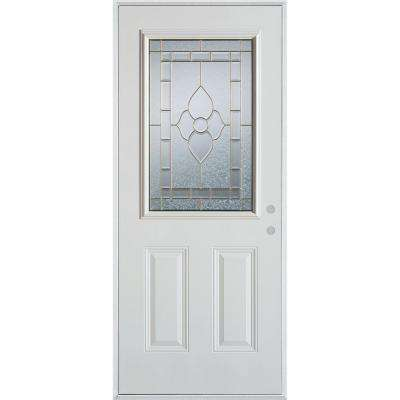 36 in. x 80 in. Traditional Patina 1/2 Lite 2-Panel Prefinished White Left-Hand Inswing Steel Prehung Front Door