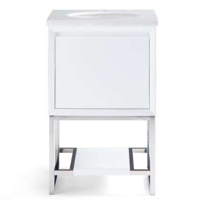 Hardy 20 in. W x 19 in. D Bath Vanity in White with Marble Extra Thick Vanity Top in Marbled White with White Basin
