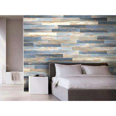 COLORS Floor and Wall DIY Old Blue Sea Aged 6 in. x 36 in. Multi-Tonal Glue Down Luxury Vinyl Plank (30 sq. ft. / case)