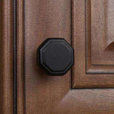 1-1/8 in. Dia Matte Black Octagon Cabinet Knob (10-Pack)