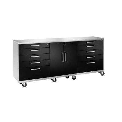 Performance Plus Series 35 in. H x 84 in. W x 24 in. D Steel Mobile Work Station Black (4-Piece)