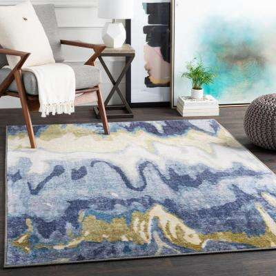 Kasimir Navy 2 ft. 7 in. x 7 ft. 3 in. Abstract Runner Rug