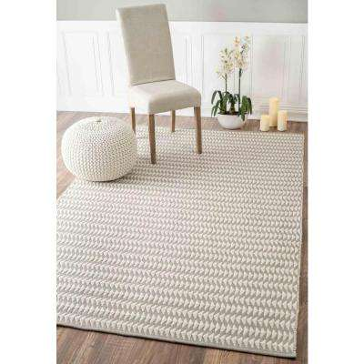 Outdoor Striped Yasmin Ivory 9 ft. x 12 ft. Area Rug