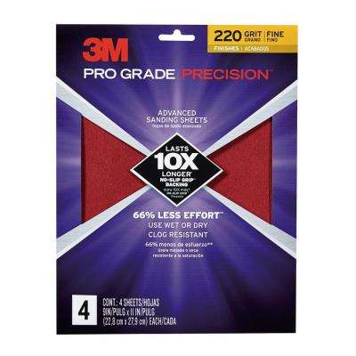 Pro Grade Precision 9 in. x 11 in. 220 Grit Fine Advanced Sanding Sheets (4-Pack)