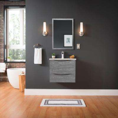 City Loft 24 in. W x 18-1/2 in. D Wall Hung Bath Vanity in Grey with Vitreous China Vanity Top in White and Mirror