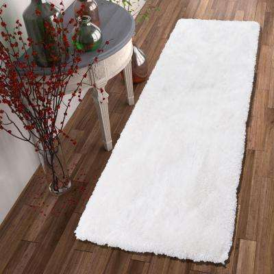 Feather Liza White 3 ft. x 7 ft. Modern Shag Runner Rug