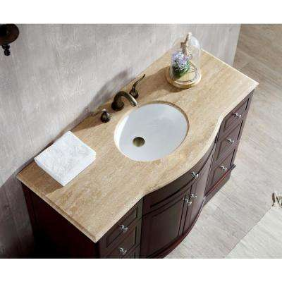 48 in. Lotus Single Sink Vanity in Dark Cherry with Marble Vanity Top in Travertine with White Basin