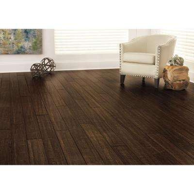 Hand Scraped Strand Woven Ceruse 3/8 in. T x 5-1/8 in. W x 72-7/8 in. L Engineered Click Bamboo Flooring
