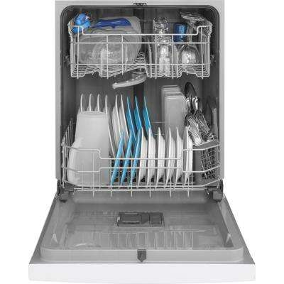 24 in. Front Control Built-In Tall Tub Dishwasher in White with Steam Prewash, 54 dBA