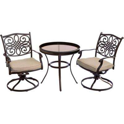 Traditions Bronze 3-Piece Aluminum Outdoor Bistro Set with Swivel Chairs with Natural Oat Cushions