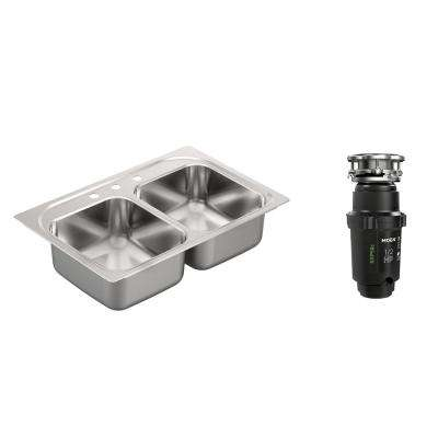 2200 Series Drop-In Stainless Steel 33 in. 3-Hole Double Bowl Kitchen Sink with GX Pro Series 1/2 HP Garbage Disposal