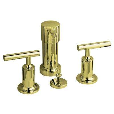 Purist 2-Handle Bidet Faucet in Vibrant French Gold with Vertical Spray with Lever Handles