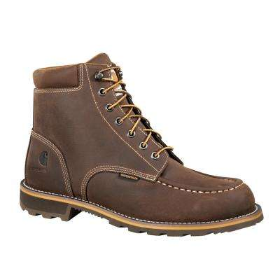 Traditional Men's Brown Leather Moc Toe Lug Bottom Waterproof Steel Safety Toe Lace-up Work Boot