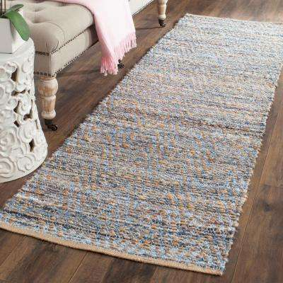 Cape Cod Natural/Blue 2 ft. x 10 ft. Runner Rug