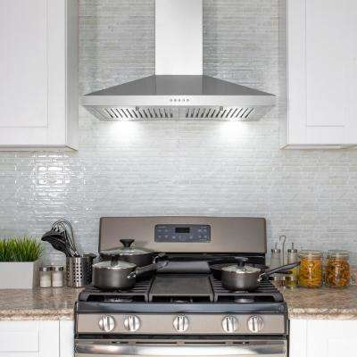 30 in. Wall Mount Range Hood in Stainless Steel with LEDs, Push Control and Carbon Filters