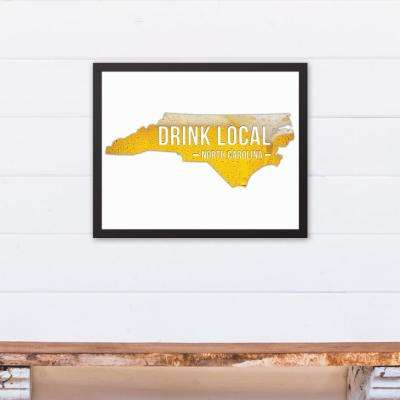 "20 in. x 16 in. ""North Carolina Drink Local Beer  "" Printed Framed Canvas Wall Art"