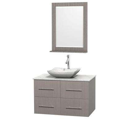 Centra 36 in. Vanity in Gray Oak with Marble Vanity Top in Carrara White, Marble Sink and 24 in. Mirror