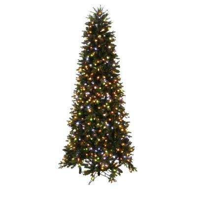 9 ft. LED Indoor Just Cut Deluxe Aspen Fir Artificial Christmas Tree with Color Choice Lights and 1-Plug