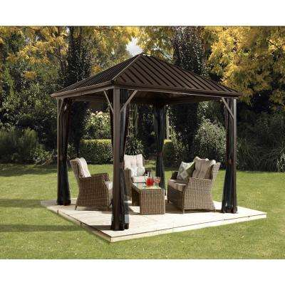 10 ft. D x 10 ft. W Dakota Aluminum Gazebo with Galvanized Steel Roof Panels and Mosquito Netting