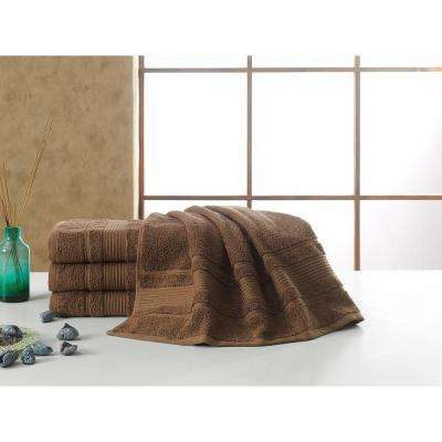 Solomon Collection 27 in. W x 52 in. H 100% Turkish Cotton Bordered Design Luxury Bath Towel in Brown (Set of 4)