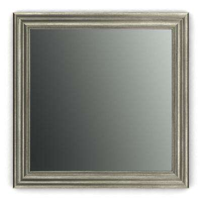 33 in. x 33 in. (L2) Square Framed Mirror with Standard Glass and Easy-Cleat Float Mount Hardware in Vintage Nickel