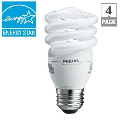 60W Equivalent Soft White (2700K) Spiral A-Line CFL Light Bulb (4-Pack) (E*)