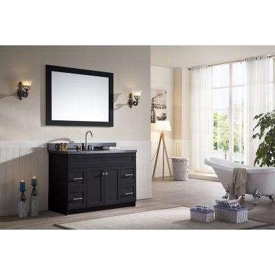 Hamlet 49 in. Bath Vanity in Black with Granite Vanity Top in Absolute Black with White Basin