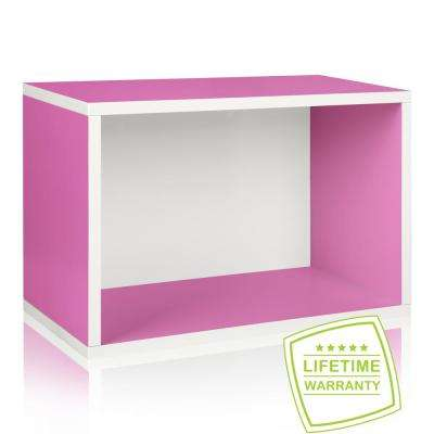 Way Basics Eco Stackable zBoard Paperboard 11.2 x 22.8 x 15.5 Tool-Free Assembly Rectangle Cubby Shelf Unit in Pink