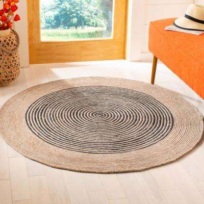 Braided Beige/Black 6 ft. x 6 ft. Round Area Rug