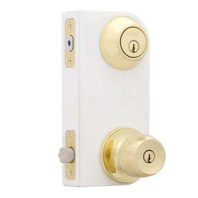 Brandywine Polished Brass Entry Knob and Double Cylinder Deadbolt Combo