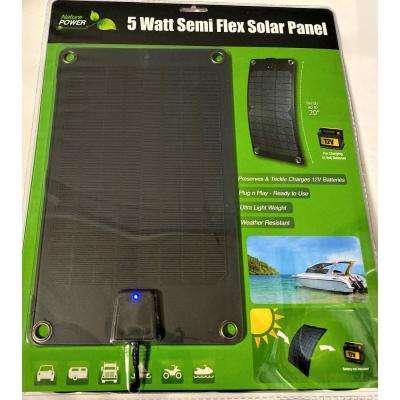 5-Watt Semi-Flex Monocrystalline Solar Panel and 12-Volt Battery Maintainer