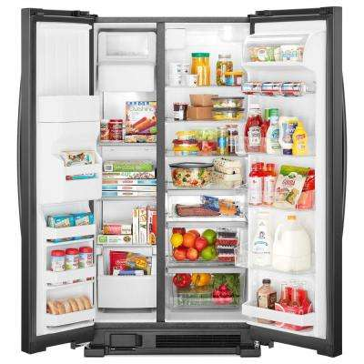 33 in. W 21.22 cu. ft. Side by Side Refrigerator in Black