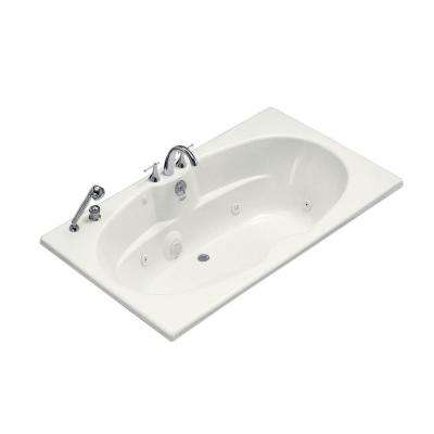 6 ft. Whirlpool Tub with Heater and Center Drain in White